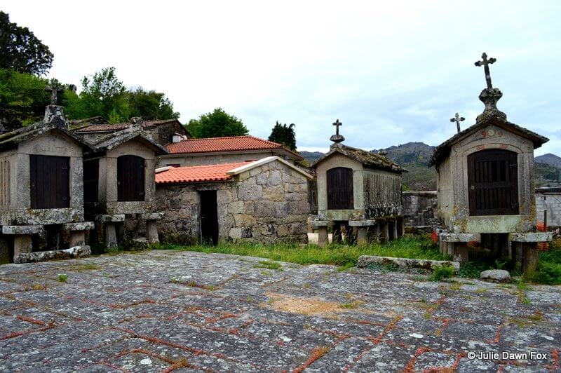 Stone grain stores and communal drying and threshing space, Lindoso, Peneda Gerês National Park