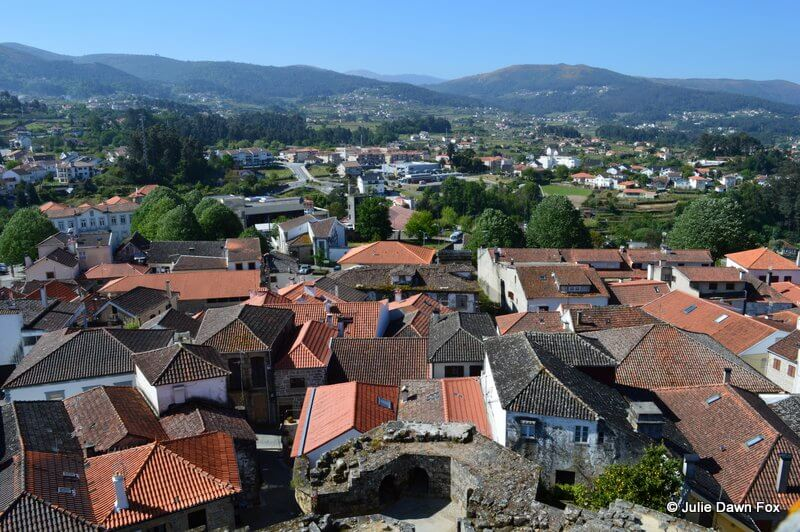 View of Melgaço and mountains from castle tower