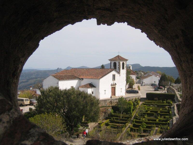 Marvão, seen through a hole in the castle walls, Alentejo, Portugal