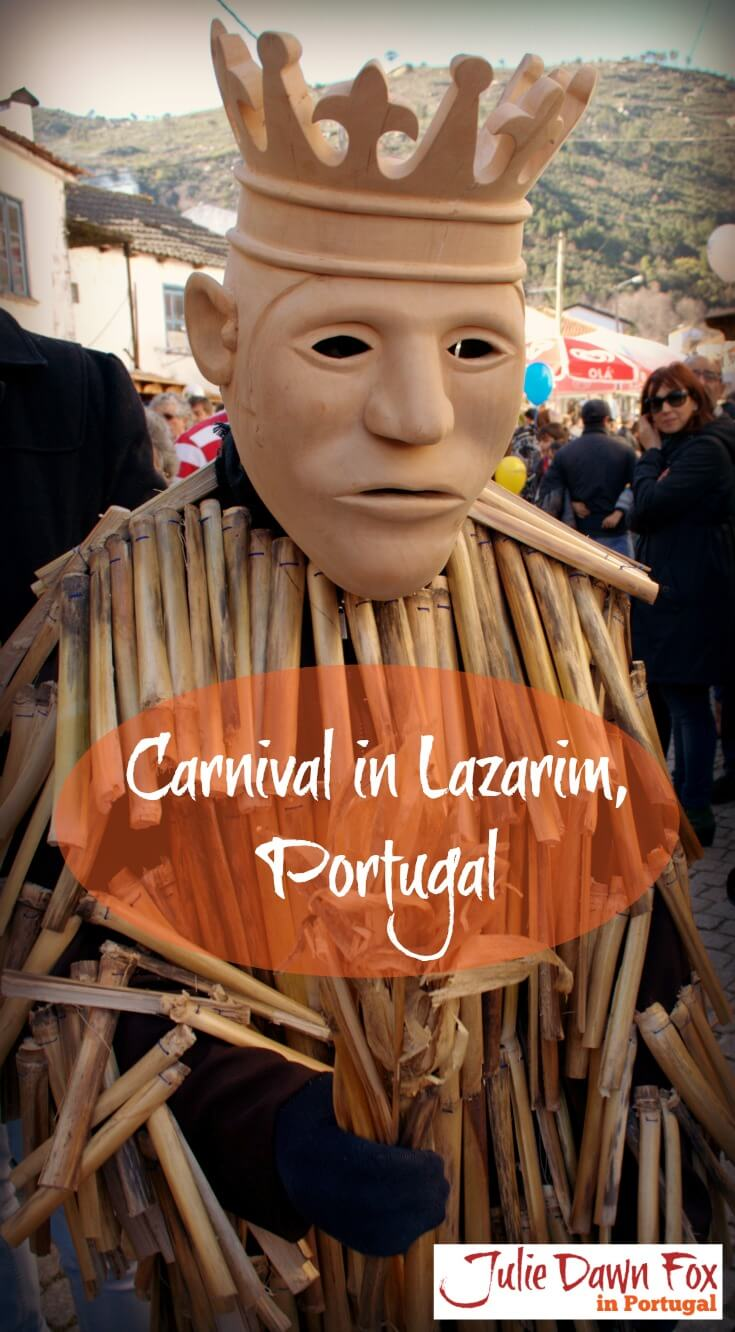 Careto with a wooden mask and cane costume. What to expect from carnival in Lazarim, Portugal