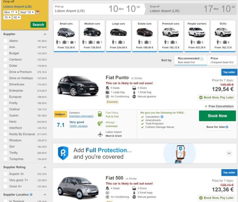 Rentalcars.com search results