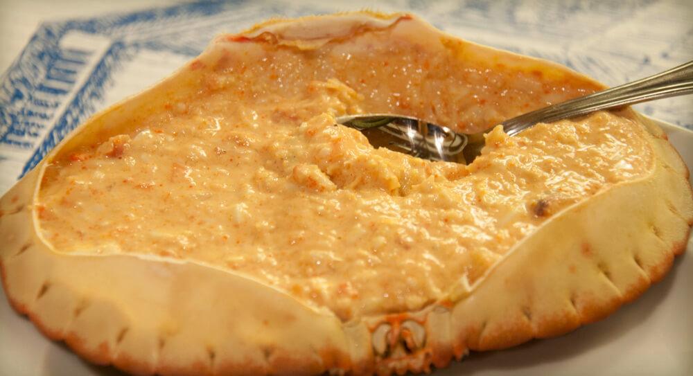 Sapateira Recheada = filled crab shell. From Lisbon in 100 Bites by Zara Quiroga
