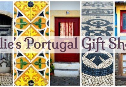 Julie Dawn Fox in Portugal gift shop. Souvenirs of Portugal