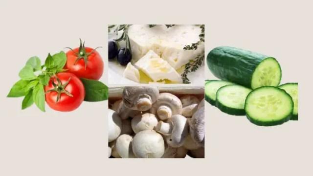 Tomato Basil, Mushroom and Cucumber Salad