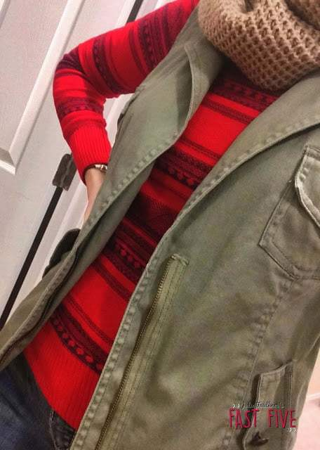 Olive Vest, Red/Blue Sweater, Camel Riding Boots