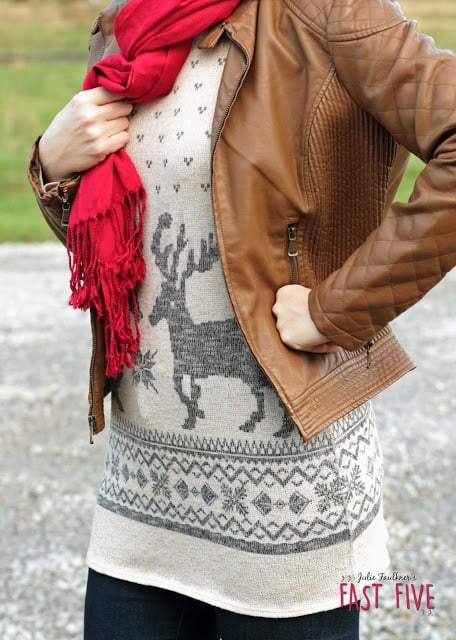Reindeer Tunic Top, Camel Ankle Boots, Leather Jacket