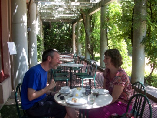 couple laughing in a café
