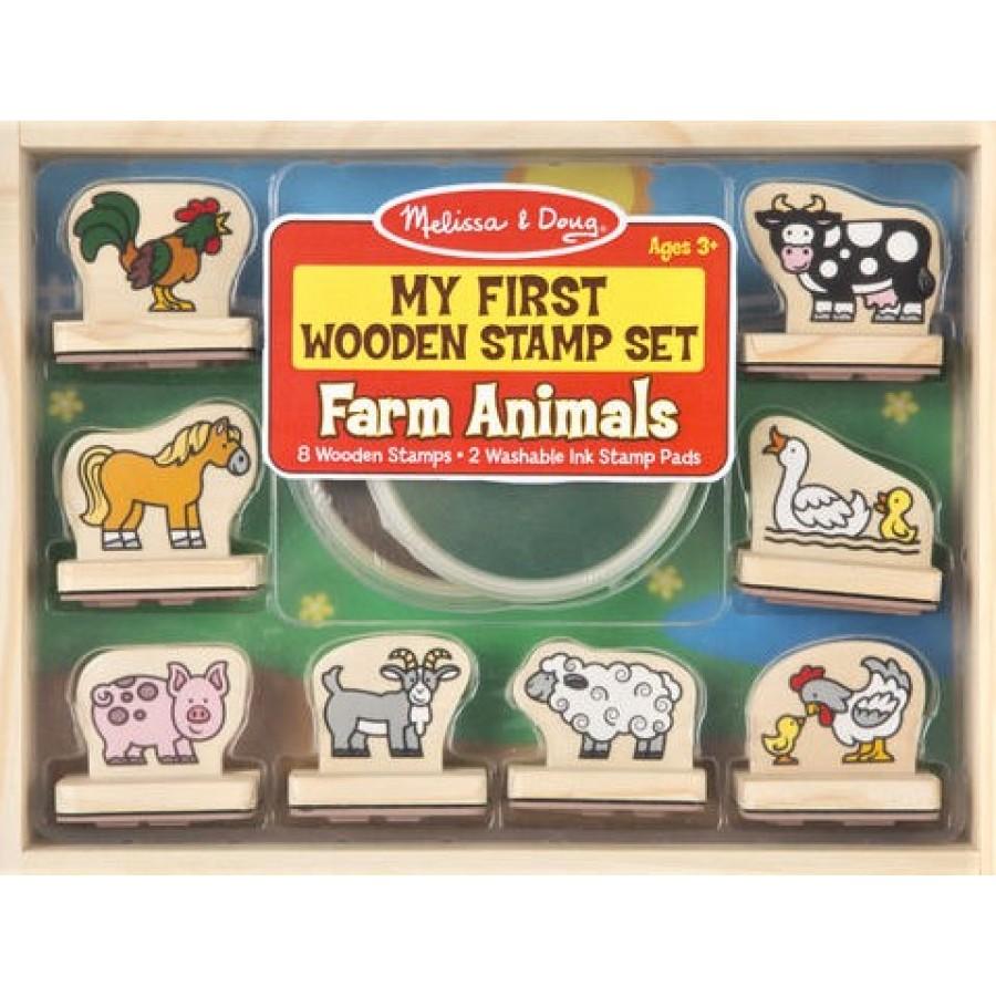 my first wooden stamp set farm animals