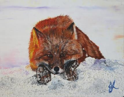 A Fox in Thought | Oil on Canvas by Julie Lovelock