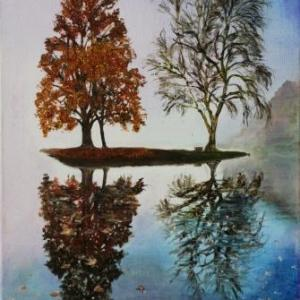 November Mist - Stourhead Reflections Series | Oil on Canvas by Julie Lovelock