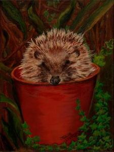 Potted Hedgehog | Oil on Canvas by Julie Lovelock