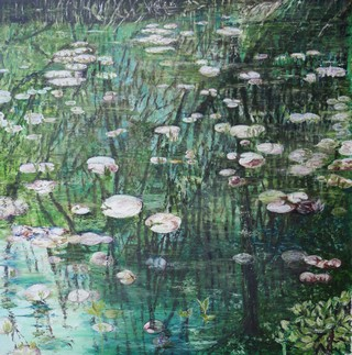 Reflection on Waterlilies by Julie Lovelock - Oil on Canvas