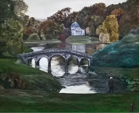 The Pantheon and the Palladian Bridge - Stourhead Reflections - Original Oil by Julie Lovelock