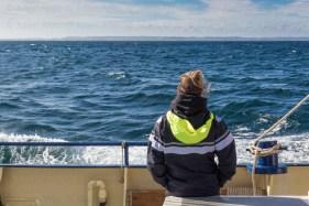 Un passager de la goélette De Gallant regarde les côtes de la Norvège s'éloigner.