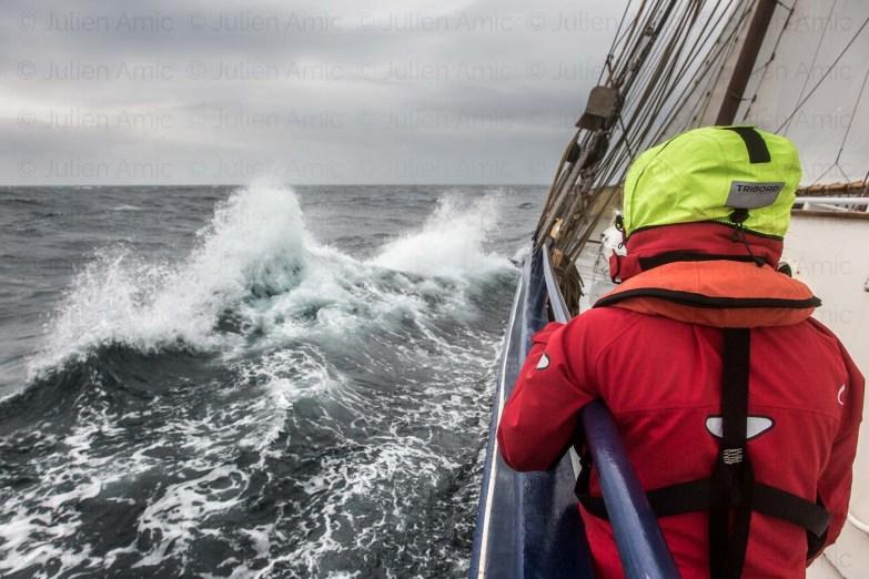 Mer agitée et navigation éprouvante pour les estomacs, mer du nord, entre Danemark et Norvège.