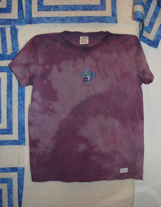 purple overdyed Life is Good shirt