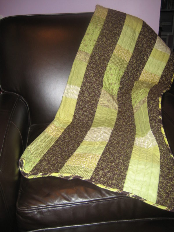baby quilt, brown and spring green stripes