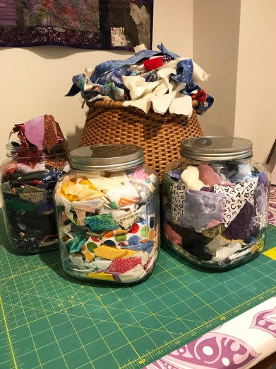 full baskets of fabric scraps