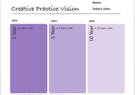 template for creating creative practice vision
