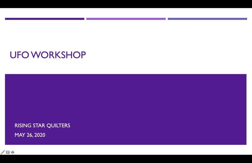 UFO Workshop title slide