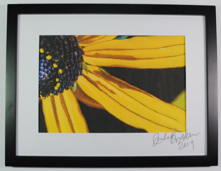 close up photo of a coneflower, thread painting