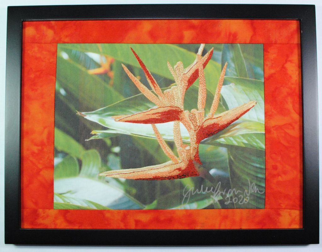 bird of paradise thread painting