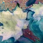 cyanotype print of two maple leaves