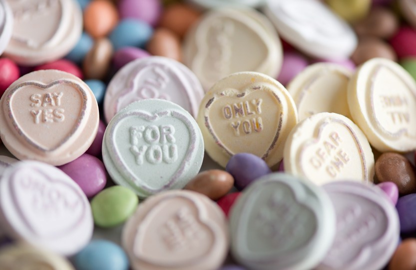 candy conversation hearts, love you