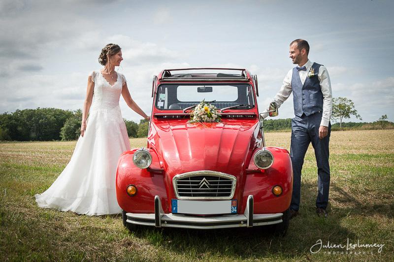 mariage voiture citroën deux chevaux