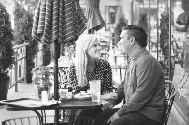 Cafe engagement pictures