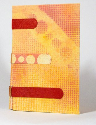Warm Hues Sewn-Over-Tapes Book front cover (acrylic paint on canvas).