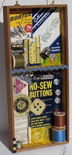 """Assemblage with vintage sewing notions. Some of these pieces are available in my Etsy shop. Click on the """"Shop"""" button (above right)."""