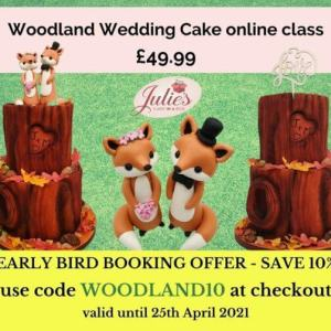 Woodland wedding cake class online, by Julie's Cake in a Box