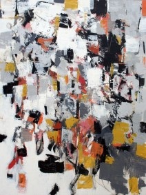 """Composition with Black and Ochre II <br>50"""" X 38"""", Mixed Media on Panel"""