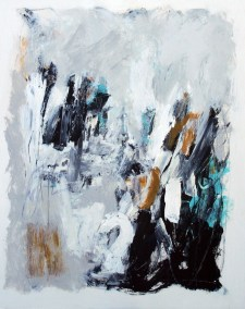 "Composition with Gray and Aqua <br>30"" X 24"" Mixed Media on Panel"