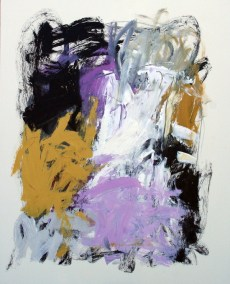 "Violet and Ochre I<br> 30"" X 24"" Mixed Media on Panel"