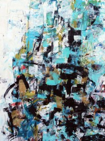 """Black and Turquoise I <br>25"""" X 19"""" Acrylic on Paper"""