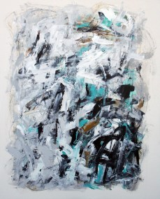 "Composition with Gray and Aqua III<br> 30"" X 24"" Mixed Media on Panel"
