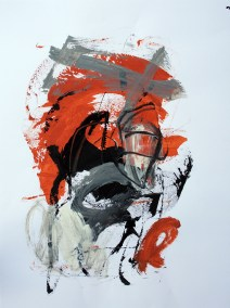 "Rust and Black No. 1<br>24"" X 18"", Mixed Media on Paper"