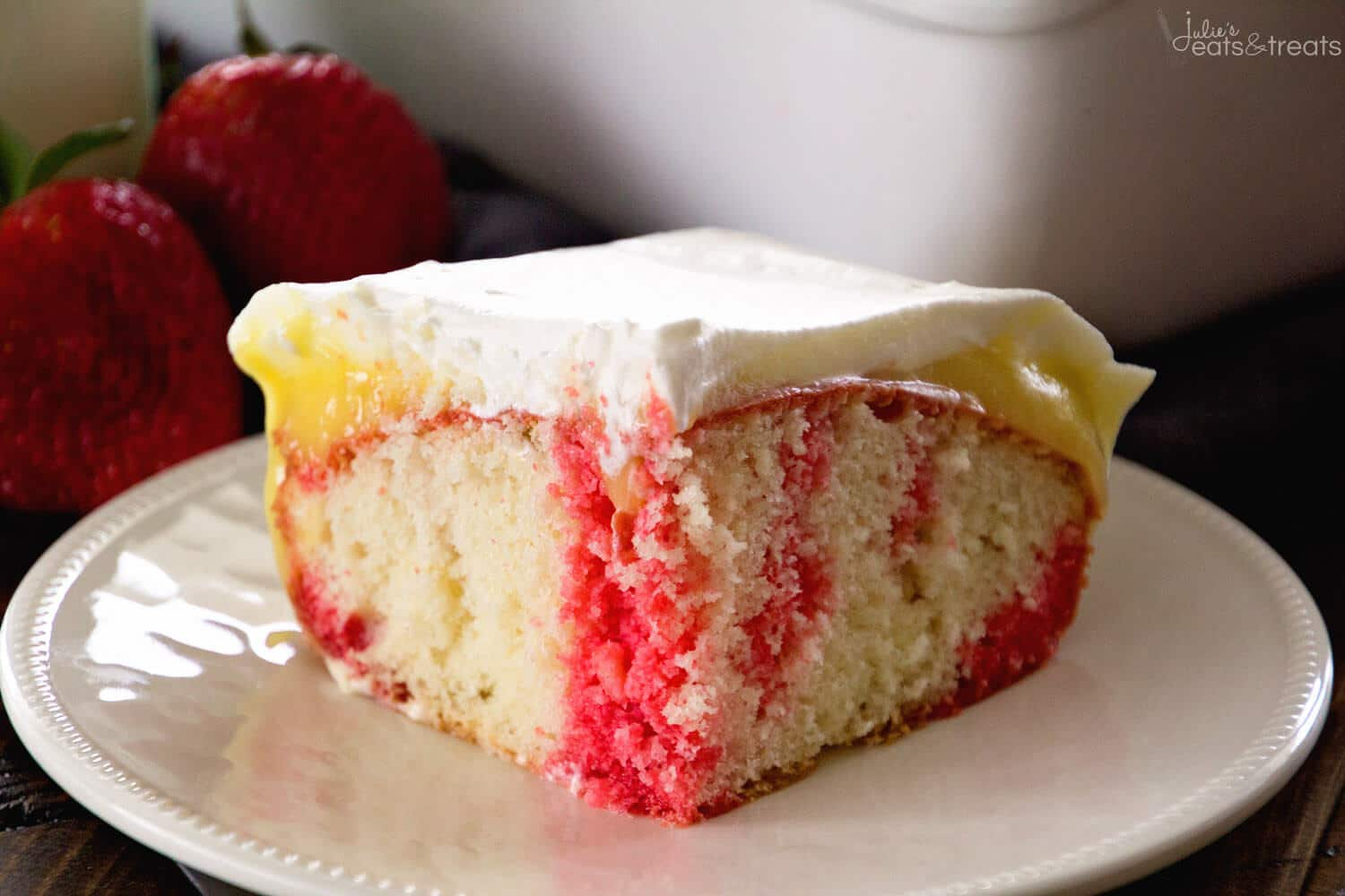 Strawberry Jello Poke Cake ~ Quick & Easy, But Impressive for Guests! This Light Cake Starts with a Box Mix and is Topped with Strawberry Jell-O, Vanilla Pudding and Cool Whip! Perfect Comfort Food Dessert!