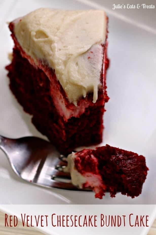 Red Velvet Cheesecake Bundt Cake ~ Red Velvet Cake with a surprise swirl of cheesecake through it and topped with cream cheese frosting! via www.julieseatsandtreats.com