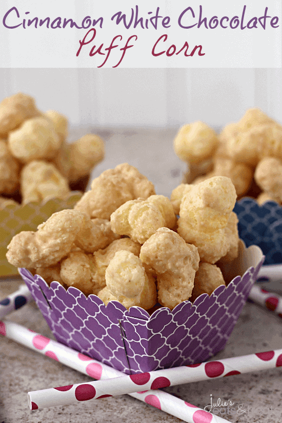 Cinnamon White Chocolate Puff Corn ~ Perfectly Sweet & Salty, Melt in Your Mouth Puff Corn Covered in a Cinnamon White Chocolate!