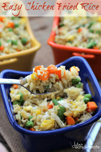 Easy Chicken Fried Rice ~ Loaded with Veggies, Eggs, Chicken and Rice! On the Table in 30 Minutes!
