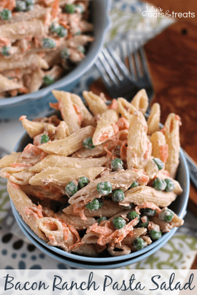 Bacon Ranch Pasta Salad ~ Creamy Pasta Salad Loaded with Pasta, Peas, Carrot, Bacon Bits and Ranch!