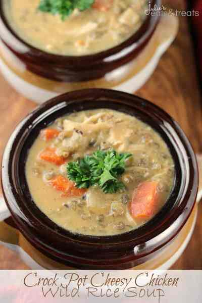 Crock Pot Cheesy Chicken Wild Rice Soup ~ Slow Cooked Soup Loaded with Cheesy, Carrots, Chicken & Wild Rice!