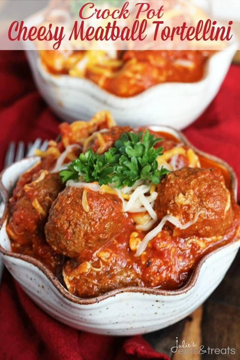 Crock Pot Cheesy Meatball Tortellini ~ Easy Dinner Perfect for a Busy Weeknight! Cheesy Tortellini Loaded with Meatballs in Spaghetti Sauce!