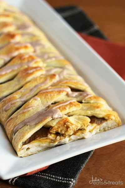 Pumpkin Cream Cheese Crescent ~ Flaky Crescent Rolls Braided and Stuffed with Cream Cheese and Pumpkin!