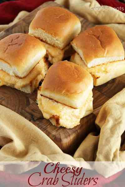 Cheesy Crab Sliders ~ King's Hawaiian Dinner Rolls Loaded with Cheesy Crab Filling! Super Easy and Delicious!