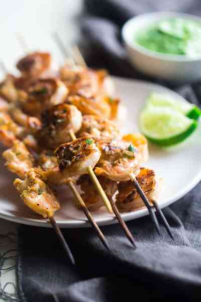 Cilantro Lime Grilled Shrimp with Avocado Cilantro Dip ~ Grilled shrimp are marinated in lime juice, honey and jalapeno pepper, then grilled for a quick and easy, healthy appetizer that's perfect for Summer!