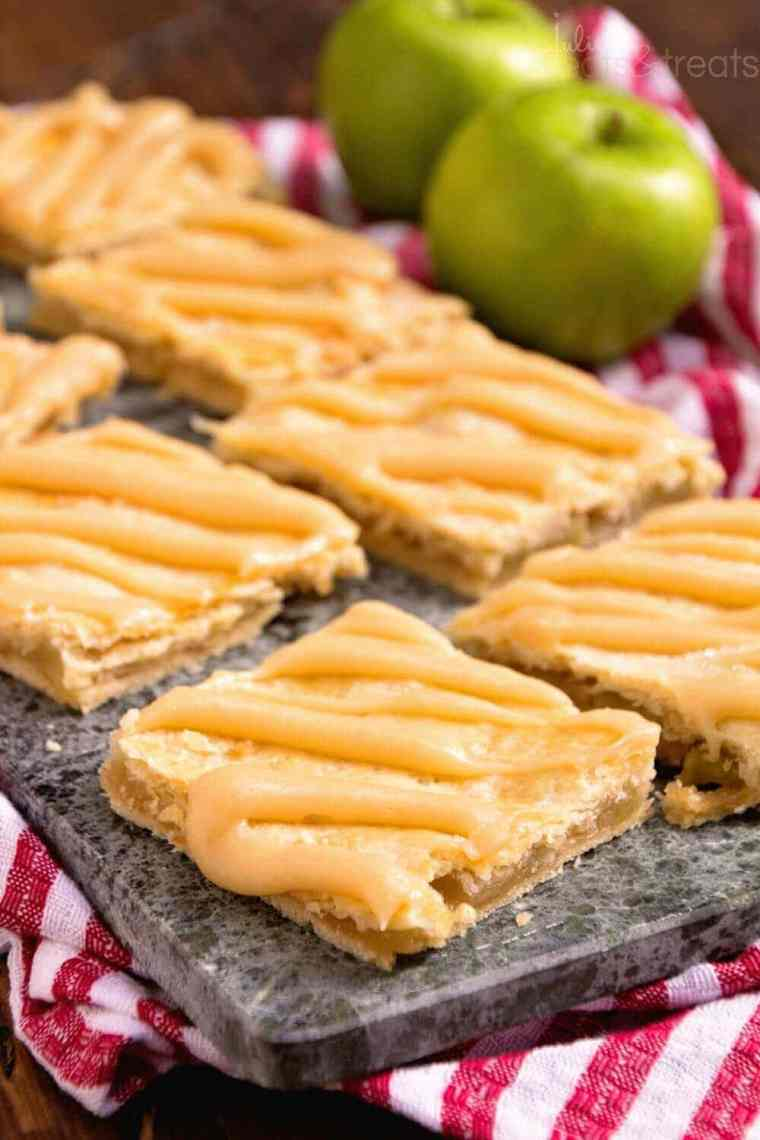Apple Bar Recipe with Caramel Frosting ~ Soft, flaky crust stuffed with homemade apple pie filling and drizzled with caramel frosting!
